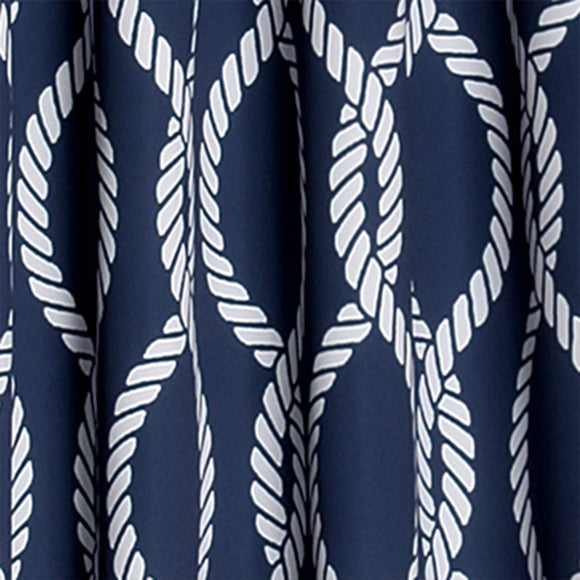 Boys Rope Knot Navy Blue White Window Curtain Set 84 Inch Nautical Pattern Panels Pair Blue Colour Kids Themed Teen Allover Polyester Pretty Modern - Diamond Home USA