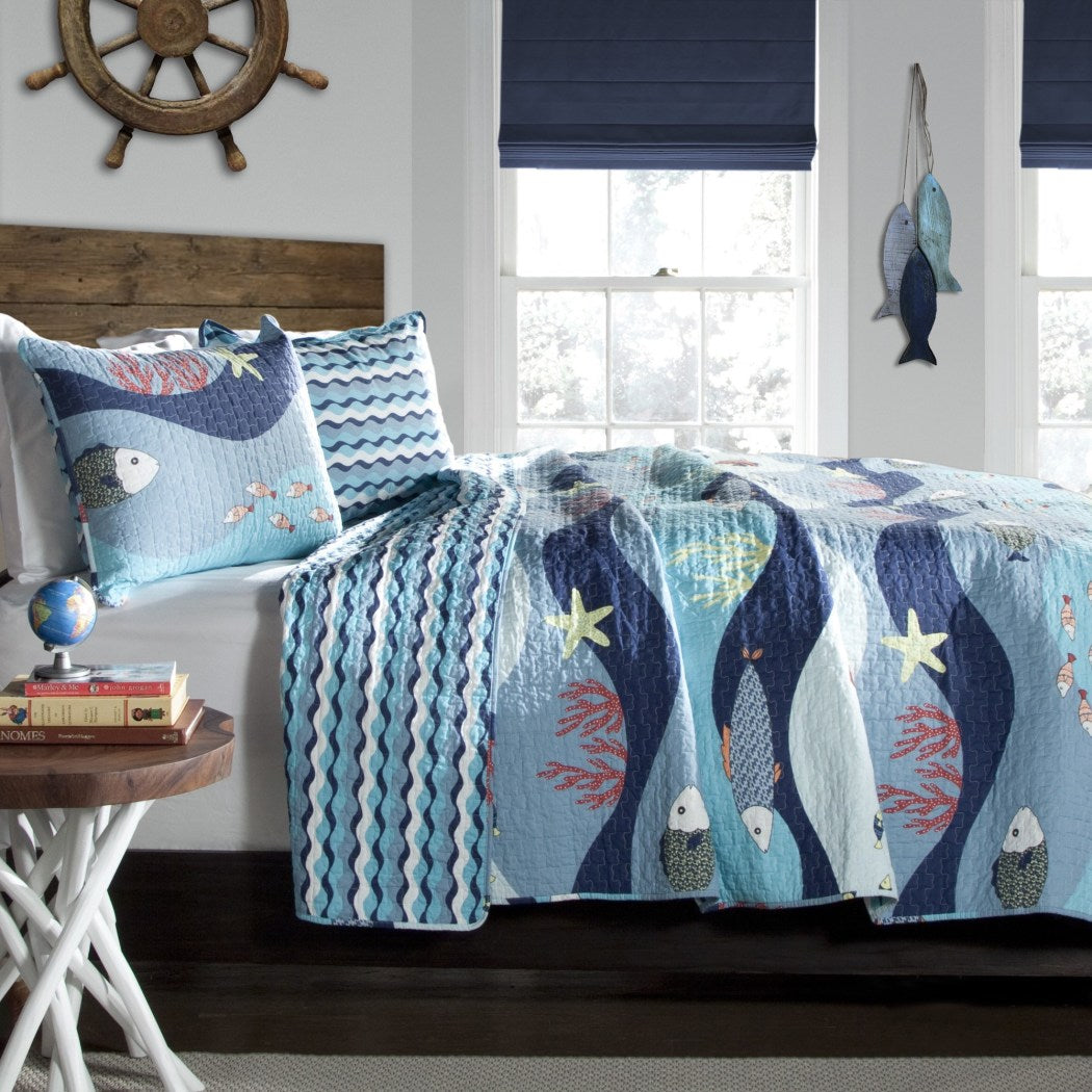 Soft Bedspreads Coverlet Set Ocean Design Cotton Ocean Themed Bedding Quilt Set Baby Sea Fish Starfish