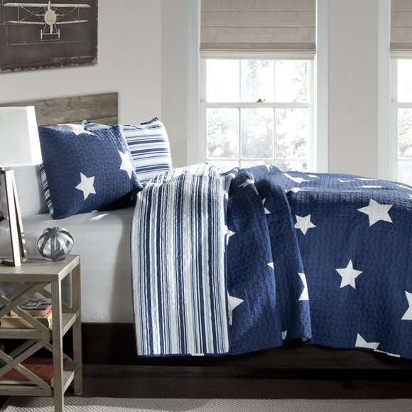 Star Quilt Set Stylish American Patriot Stripes Stars Themed Starry Night Bedding Geometric Horizontal Striped Pattern Royal