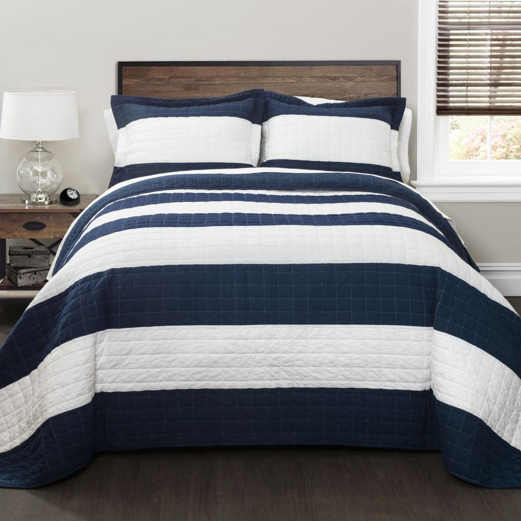 Quilt Set Rugby Striped Themed Bedding Trendy Modern Chic Bold Pretty Geometric Contemporary Casual Classic Stylish Beach Cottage