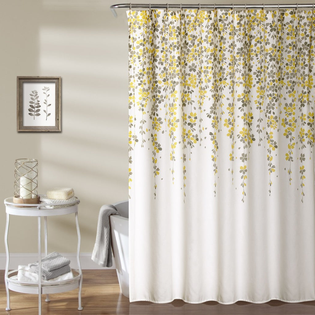 Yellow Brown White Graphical Nature Themed Shower Curtain Polyester Detailed Vertical Leaf Vine Printed Abstract Floral Pattern Classic Elegant Design - Diamond Home USA