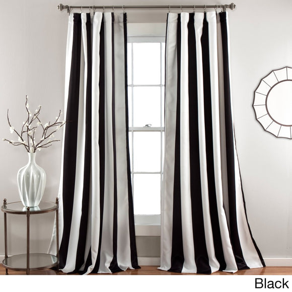 Bold Rugby Stripes Curtains Pair Panel Set Drapes Cabana Striped Pattern Window Treatments Nautical Sports Themed