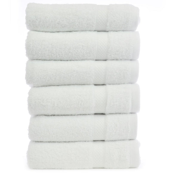 Six Piece Bright White Border Patterned Hotel Collection Bath Towels Xtra Soft Turkish Cotton Soft Absorbent Towel Modern Themed Stylish Classic - Diamond Home USA
