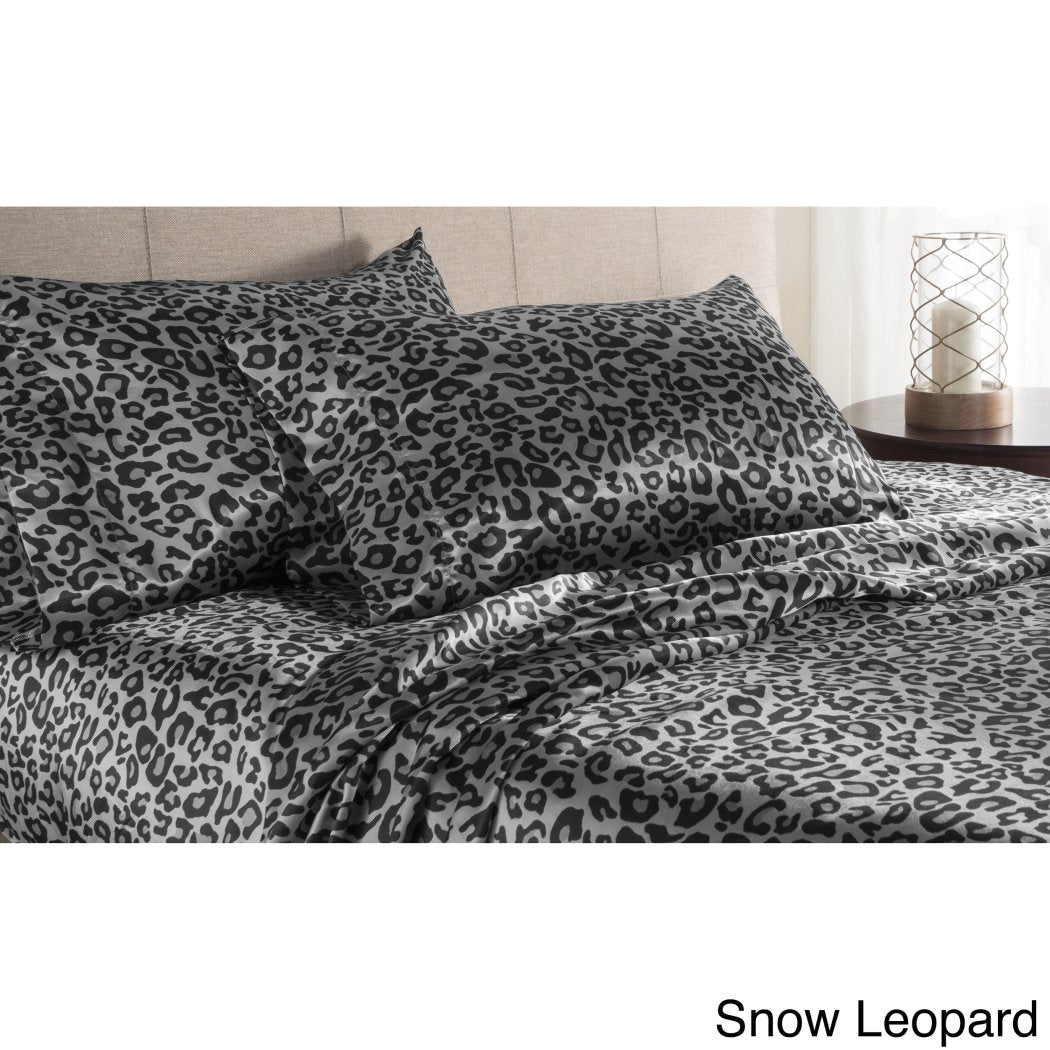 Leopard Theme Sheets Set Master Bedroom Luxury Spot Pattern Abstract Zoo Wild Animals Contemporary Microfiber