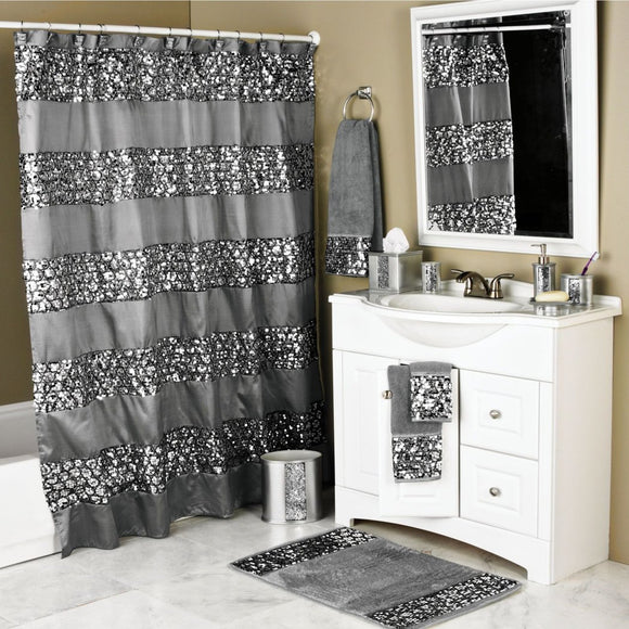 Cracked Glass Pattern Shower Curtain Metallic Bathroom Curtain Tub Embroidered Horizontal Textured Mixed Polyster Poly Cotton