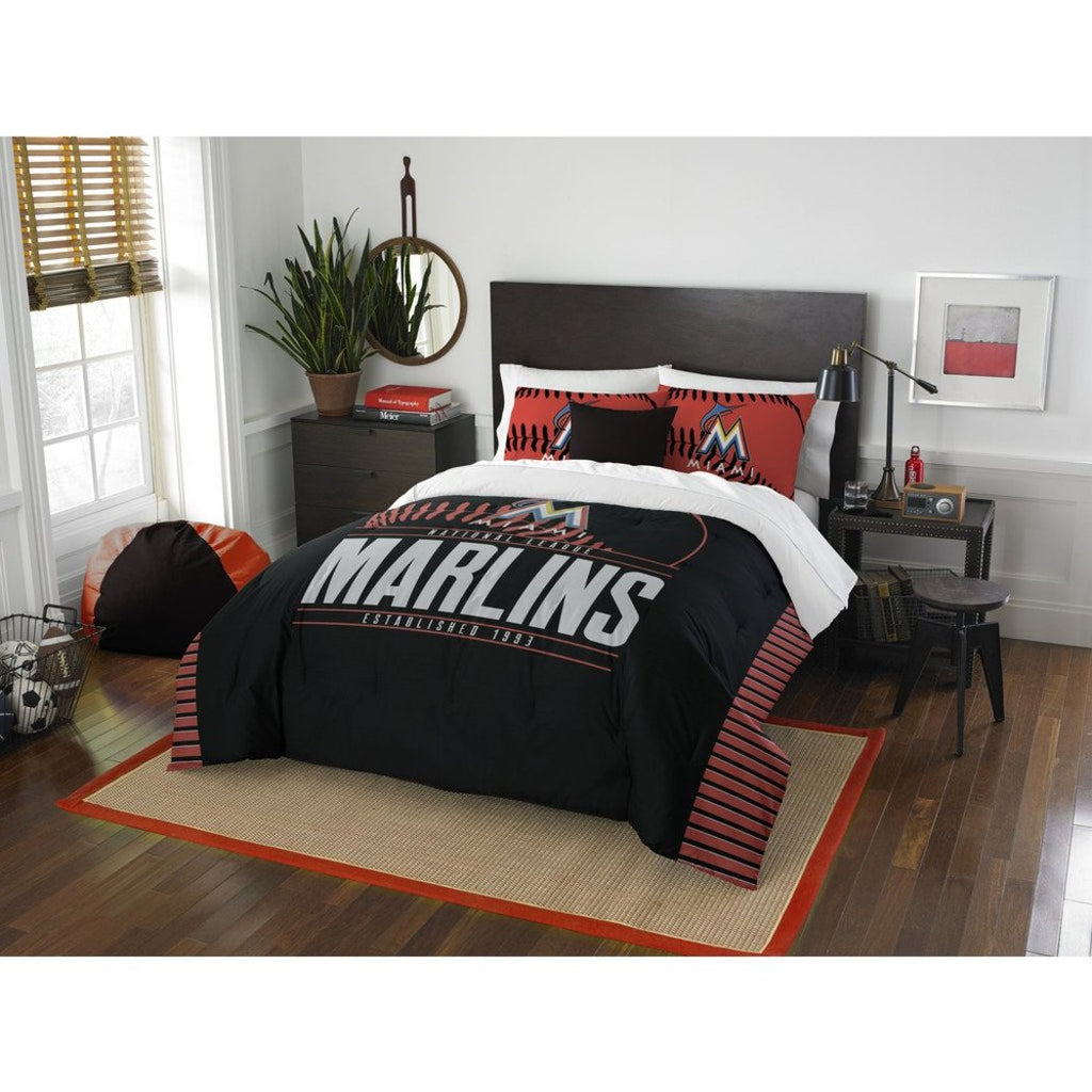 Marlins Comforter Set Full Queen White Baseball Themed Bedding Sports Pattern Team Logo Fan Merchandise Athletic Team Spirit Fan Casual - Diamond Home USA