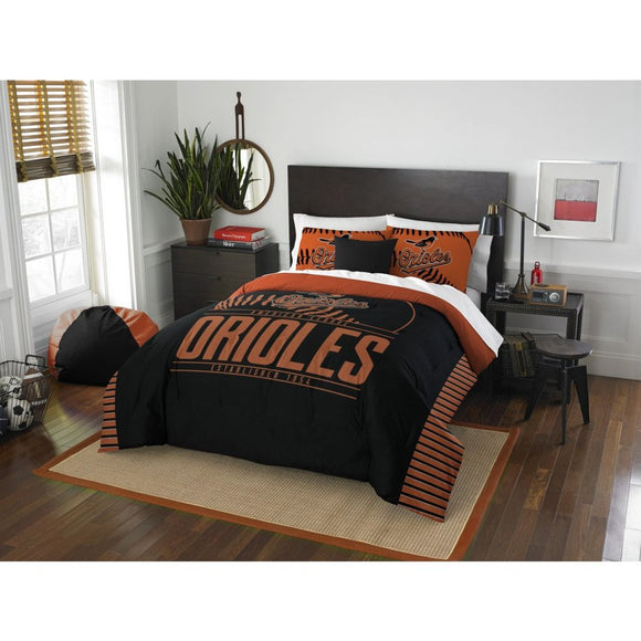 Orioles Comforter Set Full Queen Football Themed Bedding Sports Pattern Bed Bag Team Logo Fan Merchandise Athletic Team Spirit Fan Casual - Diamond Home USA