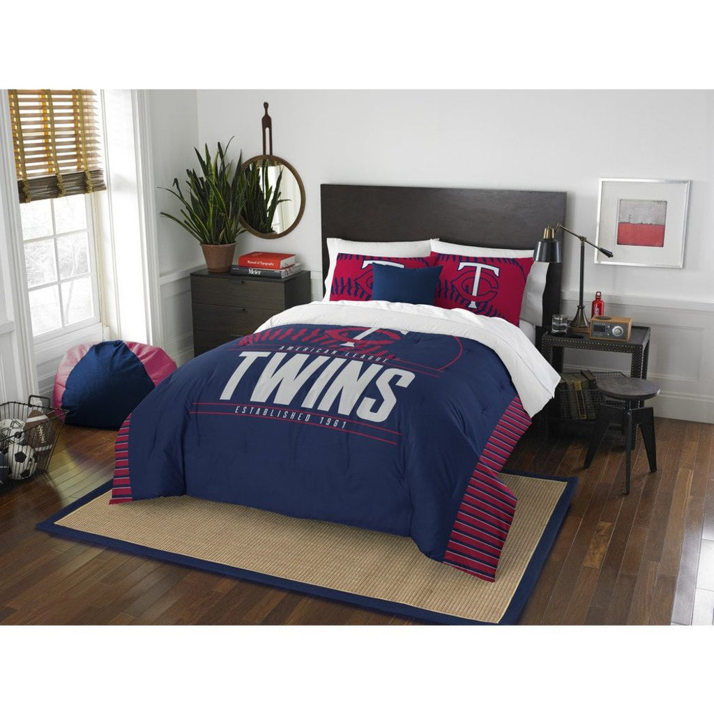 Twins Comforter Set Full Queen Red Baseball Themed Bedding Sports Pattern Team Logo Fan Merchandise Athletic Team Spirit Fan Casual - Diamond Home USA