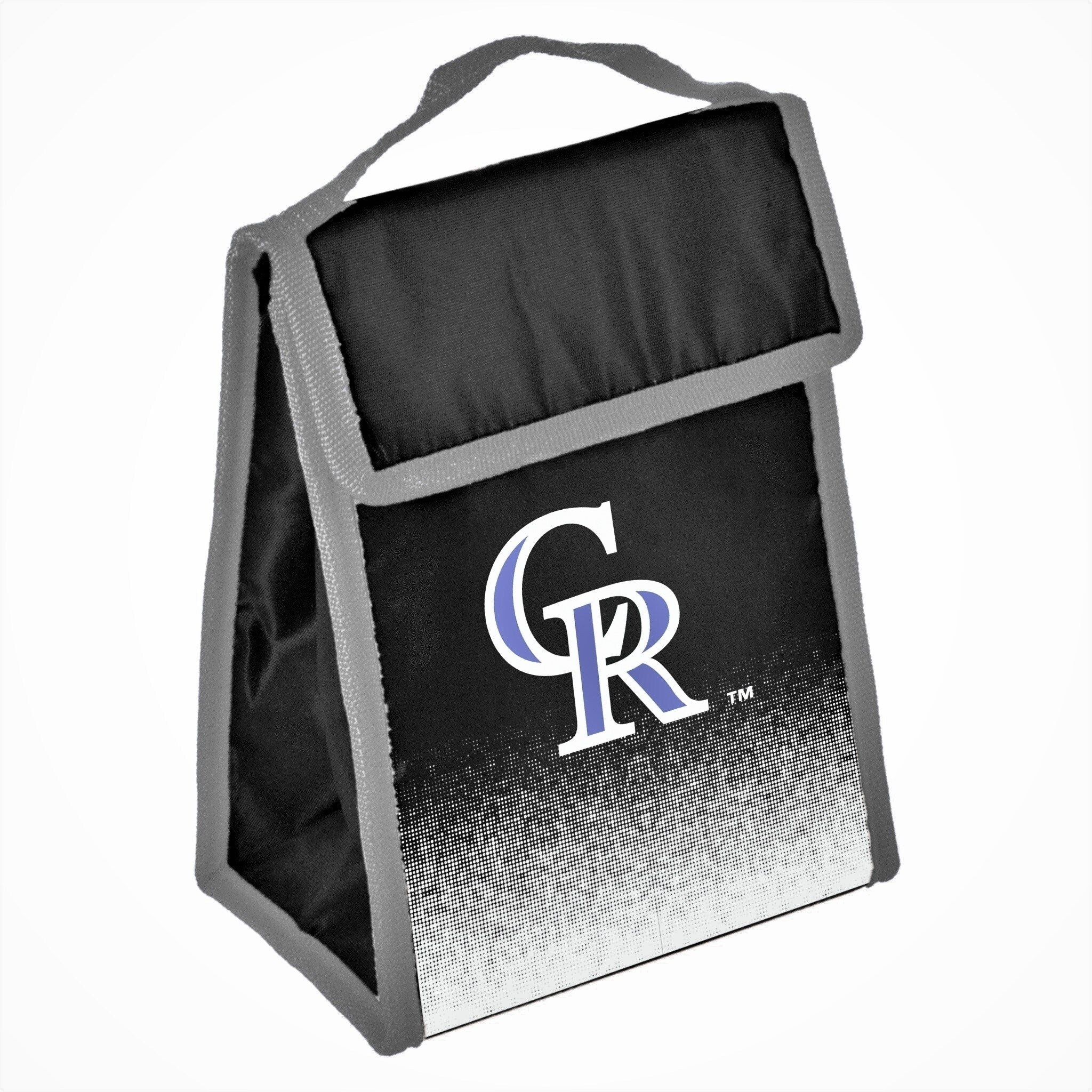 Team Logo Gradient Insulated Velcro Lunch Bag Colorado Rockies Navy Red Sports Polyester Flapover Foldable - Diamond Home USA