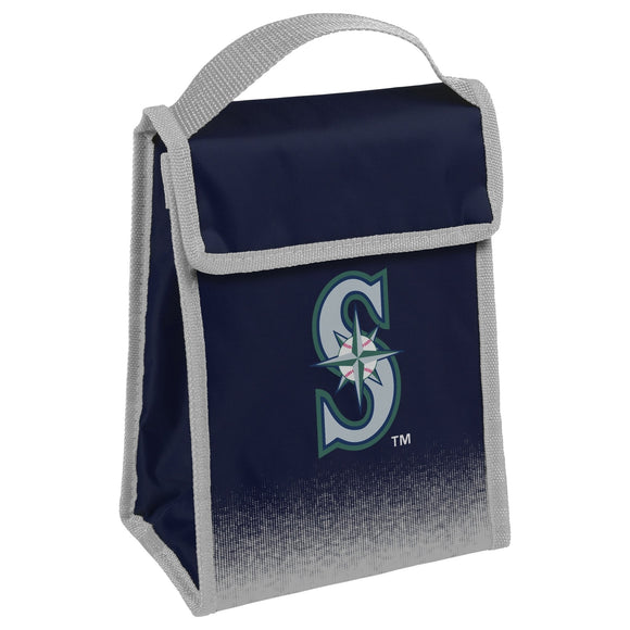 Team Logo Gradient Insulated Velcro Lunch Bag Seattle Mariners Navy Red Sports Polyester Flapover Foldable - Diamond Home USA