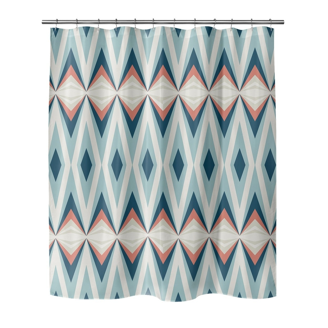 Porch Den Seghers Tribal Pattern Shower Curtain Blue Geometric Modern Contemporary Polyester - Diamond Home USA