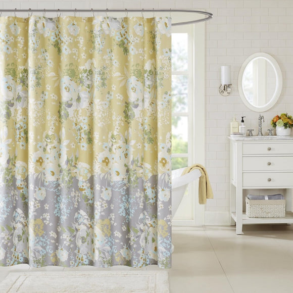 Yellow Grey Graphical Nature Themed Shower Curtain Cotton Lightweight Detailed Flowers Splash Printed Abstract Floral Pattern Classic Elegant Design - Diamond Home USA