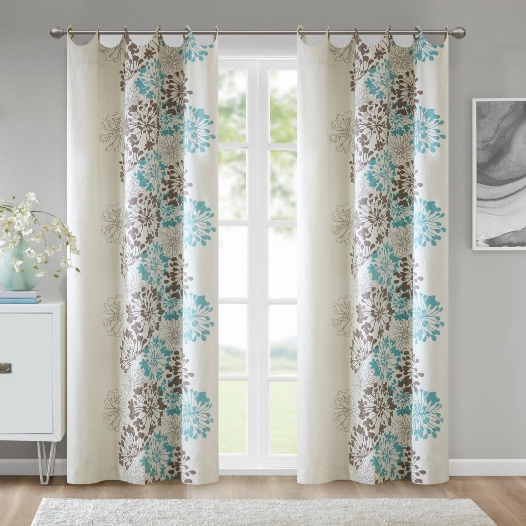 Girls Floral Window Curtain Single Panel Flowers Printed Hippy Bohemian Window Treatment Garden Themed Elegant