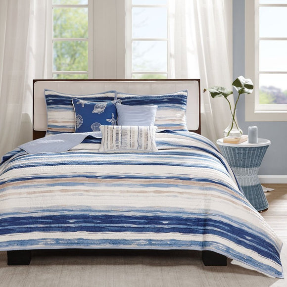 Trendy Coverlet Set Striped Themed Bedding Contemporary Nautical Coastal Water Ocean Seaside Beach
