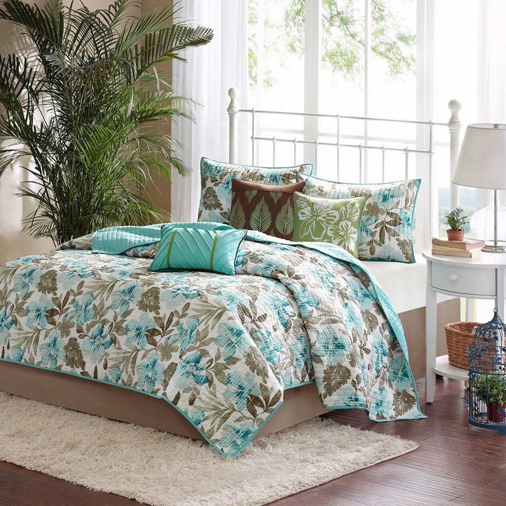 Tropical Flower Theme Coverlet Set Hawaiian Floral Bedding Chic Vacation Ocean Beach Summer Leaf Themed Pattern