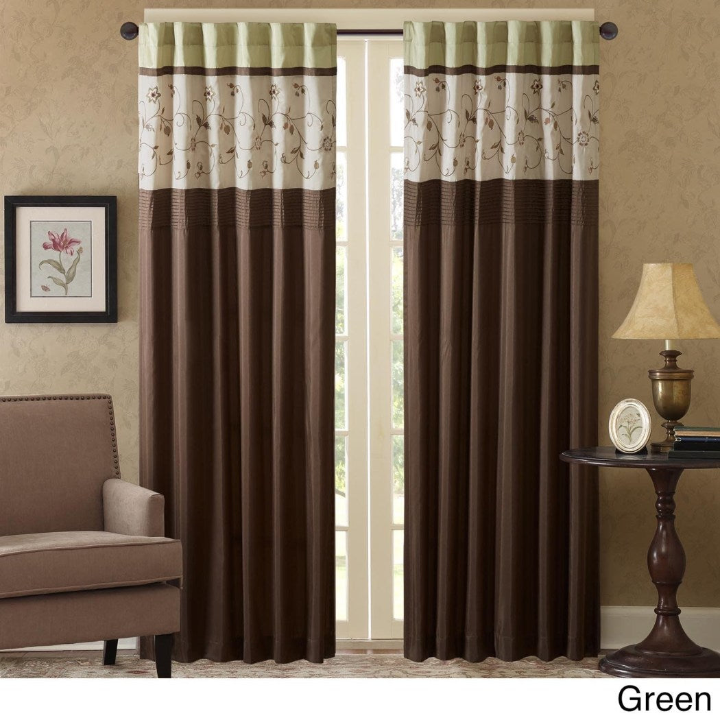 Floral Embroidered Window Curtain Single Panel Leaf Swirl Rod Pocket Drapes Tufted Texture Flowers Pattern Lined