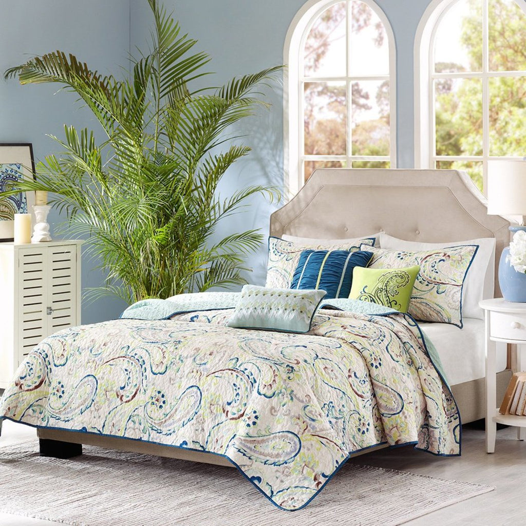 Paisley Coverlet Set Flower Pattern Casual Flowers Vintage Design Theme Bedding Damask Cottage Lake House Soft