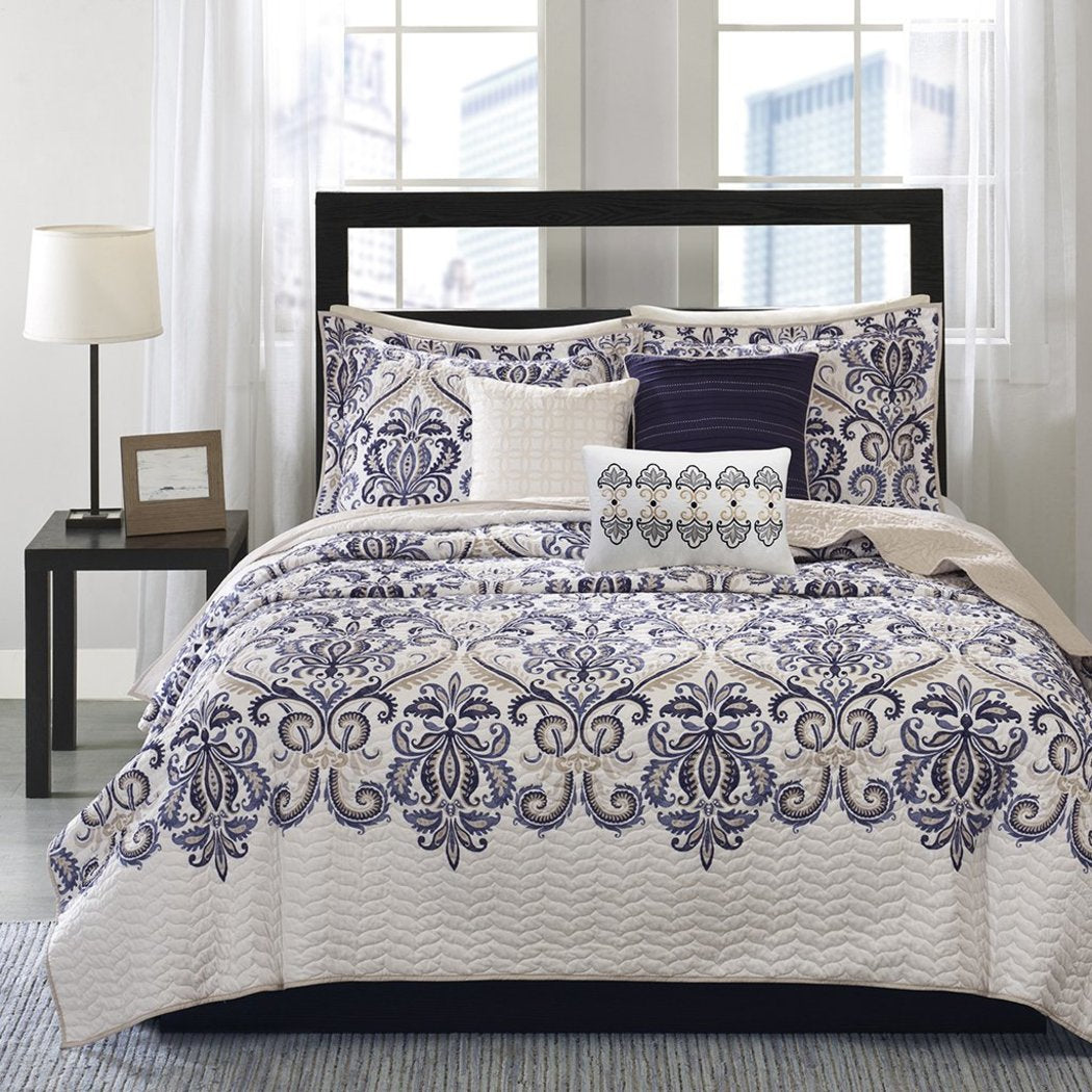 Paisley Coverlet/Cal Set Geometric Floral Jacquard Flower Medallion Pattern Contemporary Theme Bedding French Country Flowers Motif