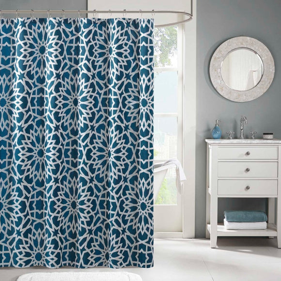 Geometric Pattern Shower Curtain Polyester Abstract Graphical Themed Detailed Star Printed Modern Elegant Design Artistic View All