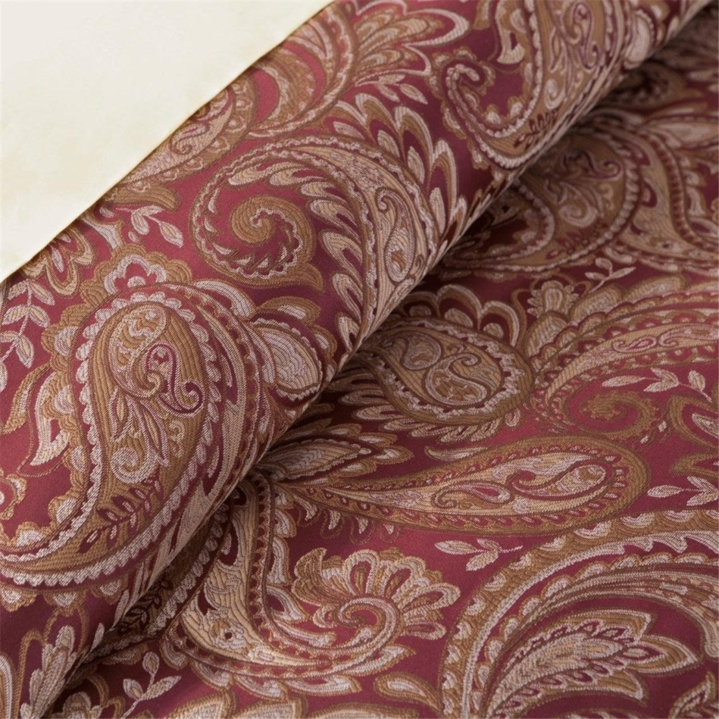 Maroon Luxury Paisley Pattern Comforter Set Eye Catching Motif Floral Design Bedding Bohemian Hippie Flowers Traditional