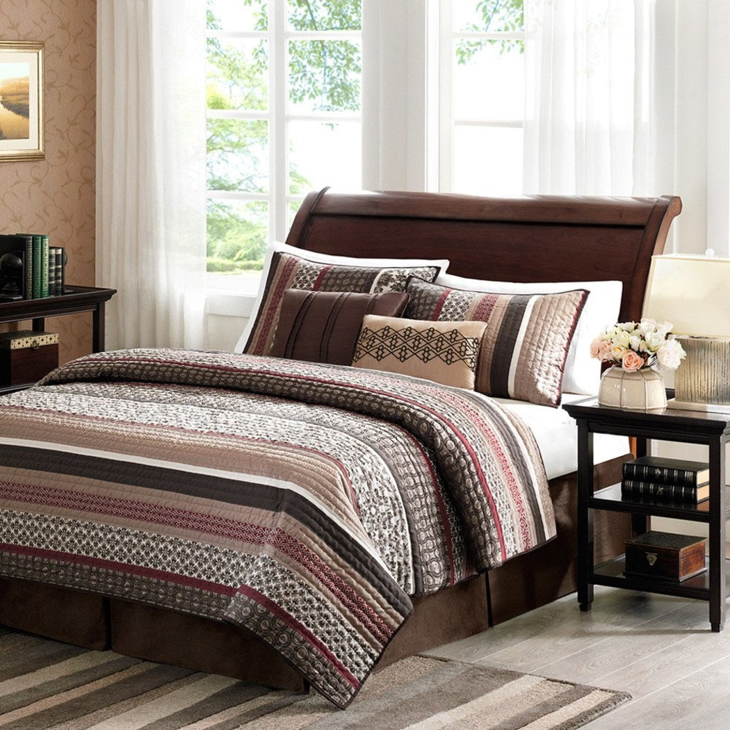 Southwest Coverlet Set Native American Southwestern Bedding Horizontal Tribal Stripes Geometric Motifs Lodge Indian Themed