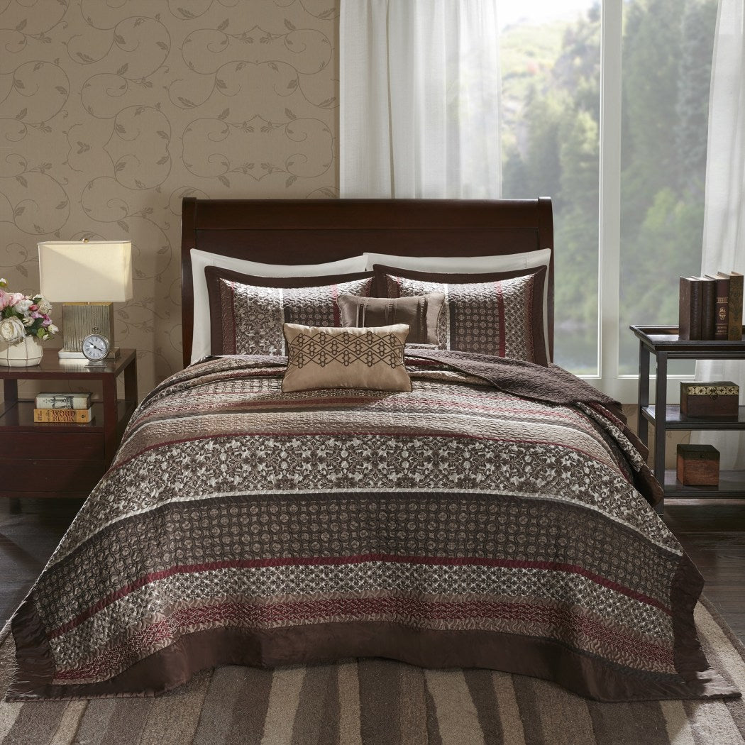 Jacquard Oversized Bedspread Set Floor Set Medallion Stripes Bedding Drapes Over Edge Hangs Down Sides Extra Long