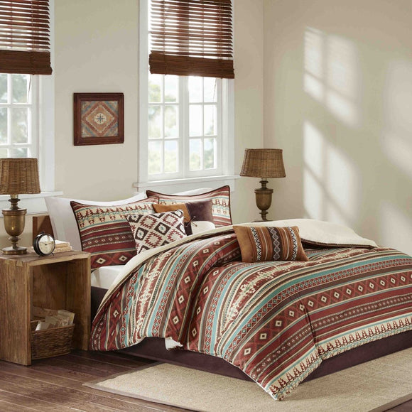 Southwest Comforter Set Native American Southwestern Bedding Horizontal Tribal Stripes Geometric Motifs Lodge Indian