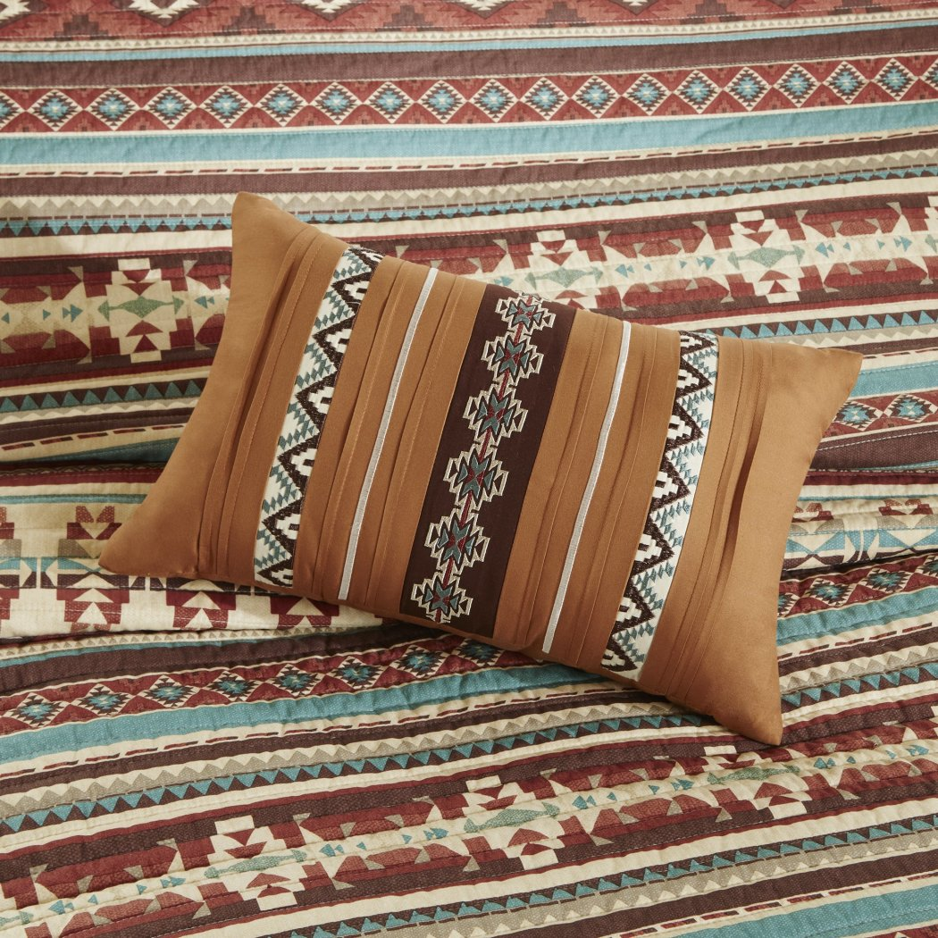 Southwest Coverlet Set Native American Southwestern Bedding Horizontal Tribal Stripes Geometric Motifs Lodge Indian