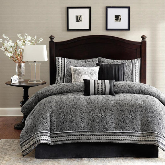 Jacquard Medallion Pattern Comforter Set Luxury High End Textured Motif Design Rich Decorative Bordered Soft Cozy Bedding