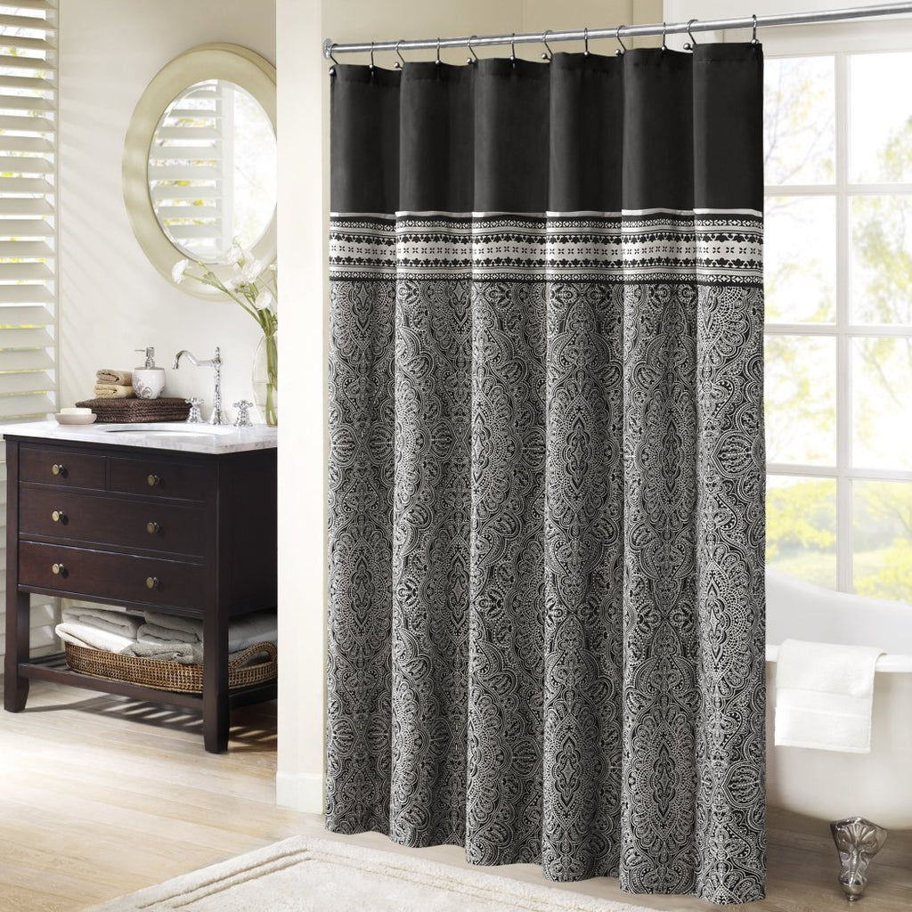 Black Medallion Shower Curtain Medallion Themed Pattern Gorgeous Bright Hippy Bathtub Shower Damask Geometric Jacquard Hippie Indie Vibrant Solid - Diamond Home USA