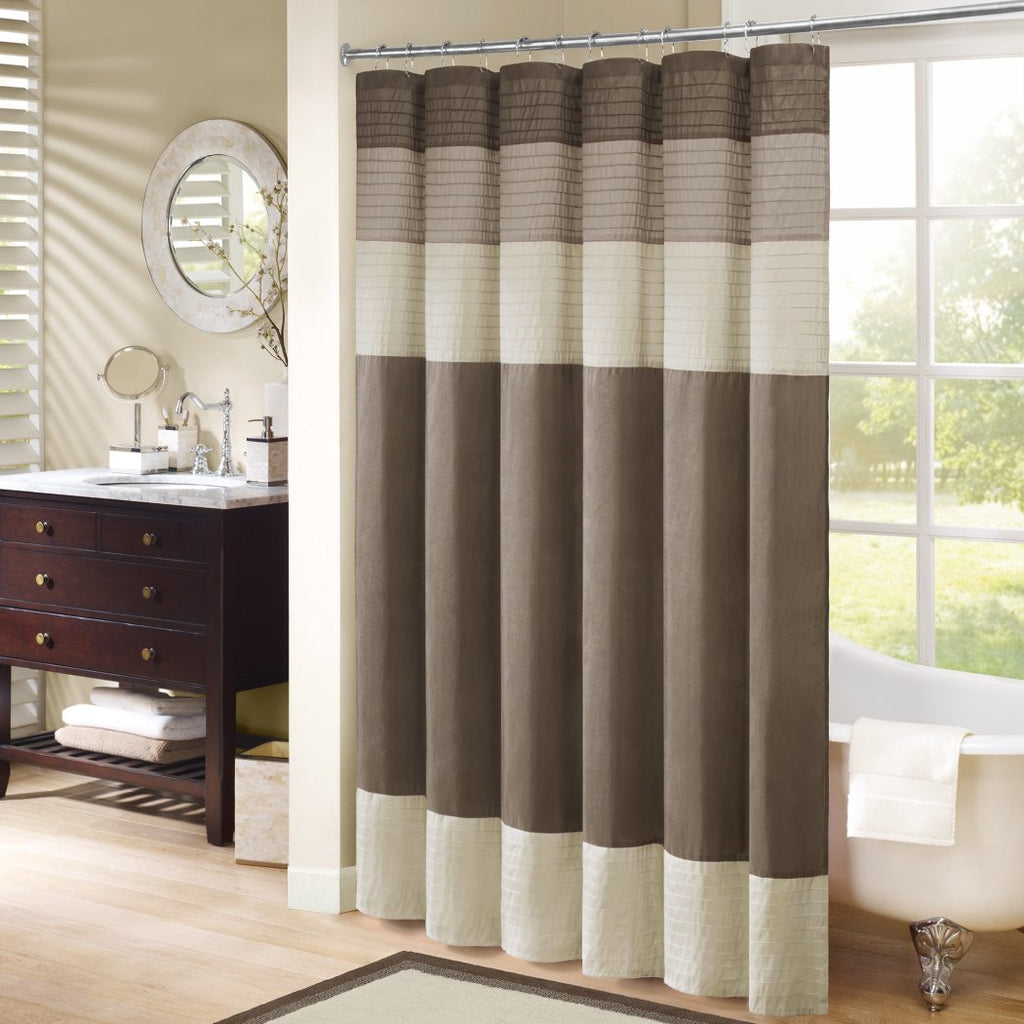 Tan Cream Brown Horizontal Stripe Printed Shower Curtain Polyester Abstract Graphical Geometric Pattern Detailed Colorful Textures