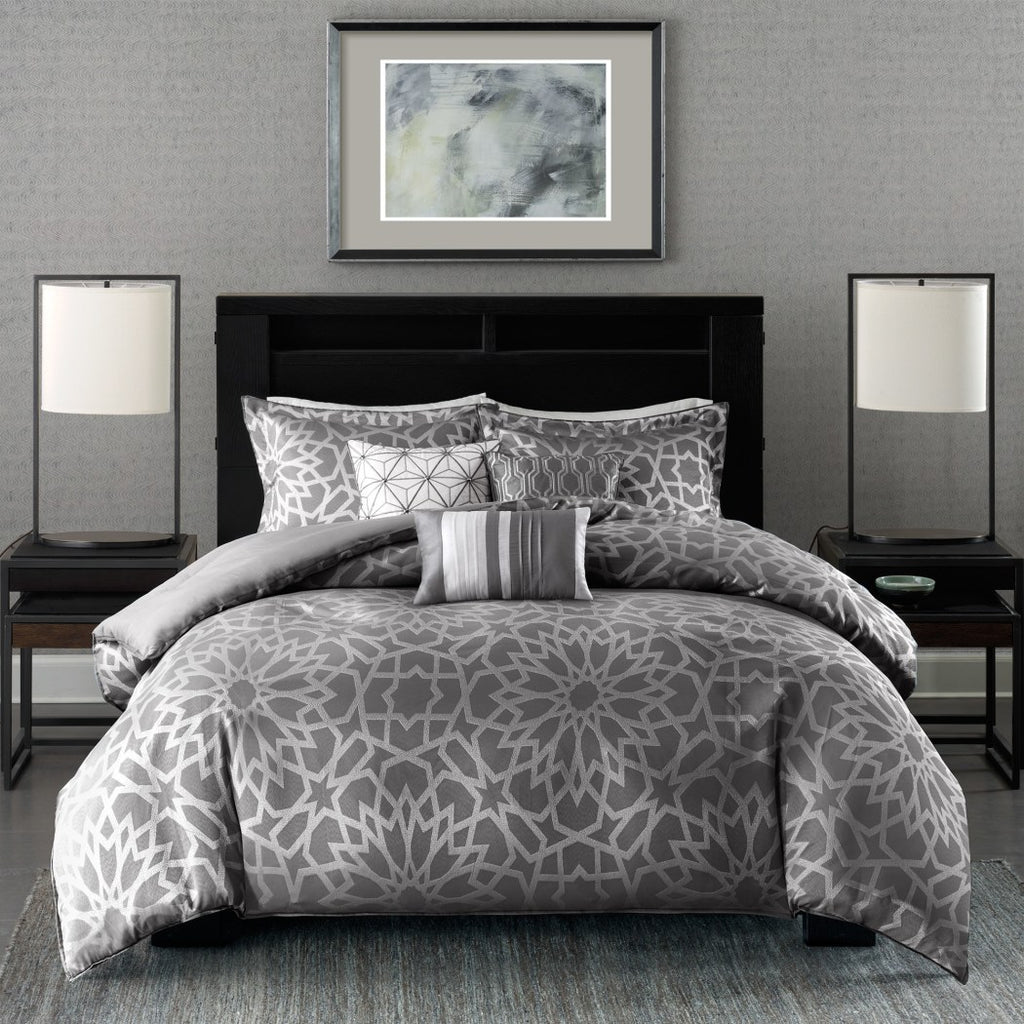 GeometricCal Duvet Cover Set Sleek Modern Medallion Motif Metallic Rich Bedding Kaleidoscope Embroidery Trendy Polyester