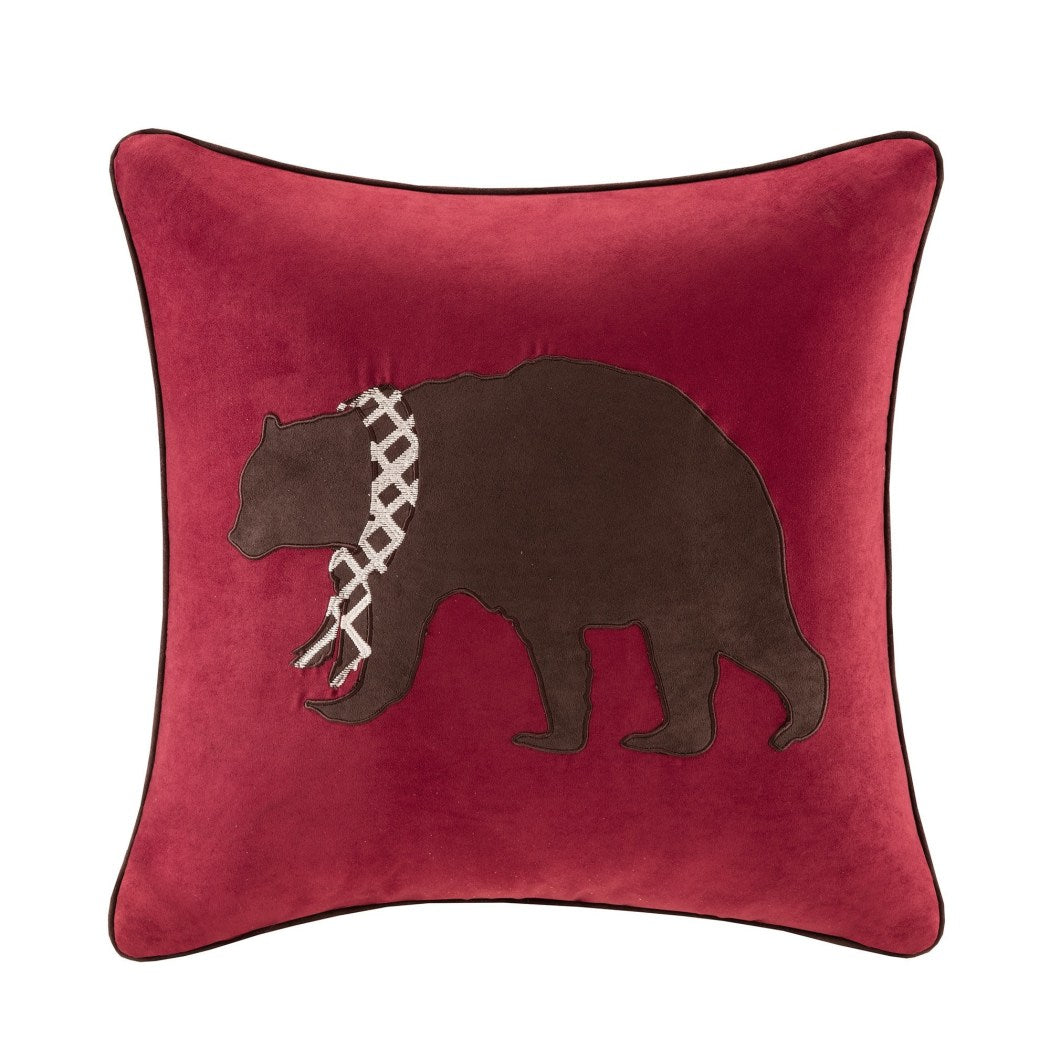 Embroidered Bear Theme Plush Large Throw Pillow CabinInspired Wild Animal Sofa Cushion Luxurious Detailed Embroidery Design Bold Durable Polyester