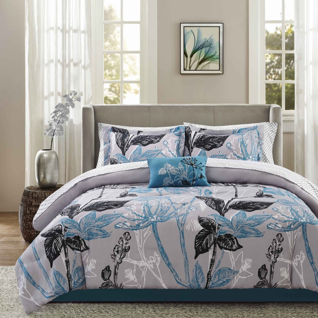 Wild Floral Pattern Comforter Set Elegant Large Garden Flowers Boho Chic Bohmian Design Soft Cozy Bedding Splash