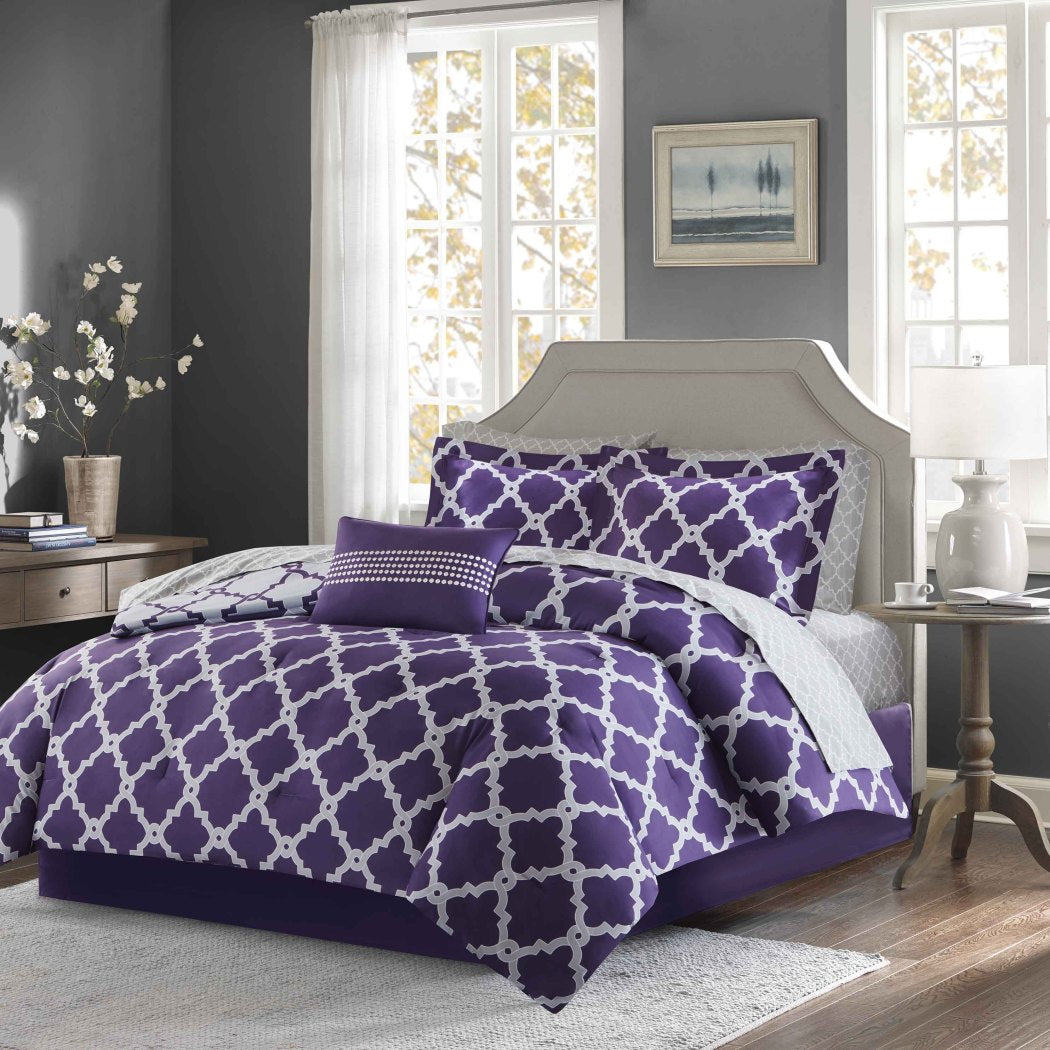 Quatrefoil Pattern Comforter Sheets Set Elega Geometric Bedding Modern Textured Design Patterned Casual Vibra Cotton