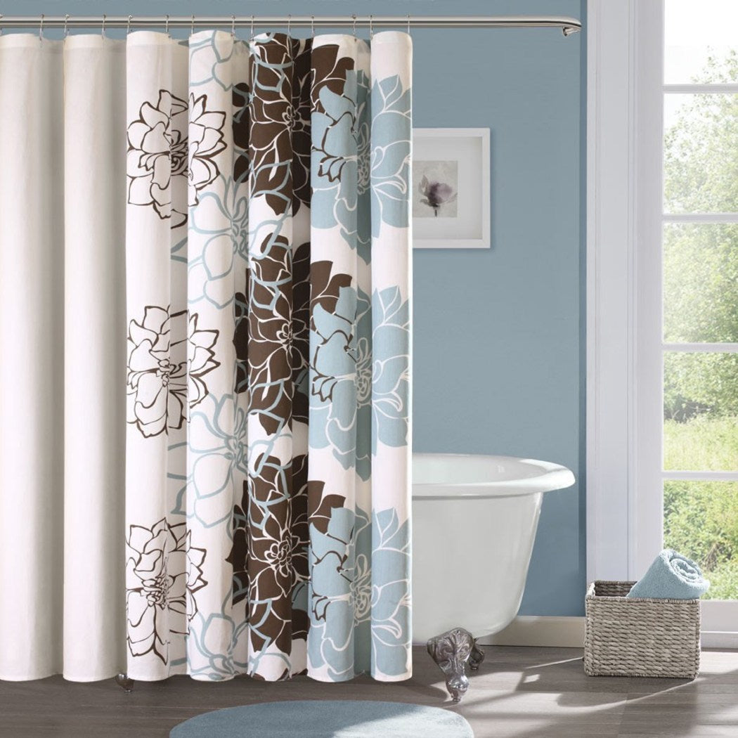 Blue Brown Floral Pattern Shower Curtain Cotton Detailed Colorful Floral Themed Graphical Blue Flowers Printed Modern Elegant Design All Seasons - Diamond Home USA