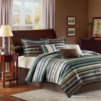 Southwest Comforter Set Native American Southwestern Bedding Horizontal Tribal Stripes Geometric Motifs Lodge Indian Themed Pattern Aztec Western