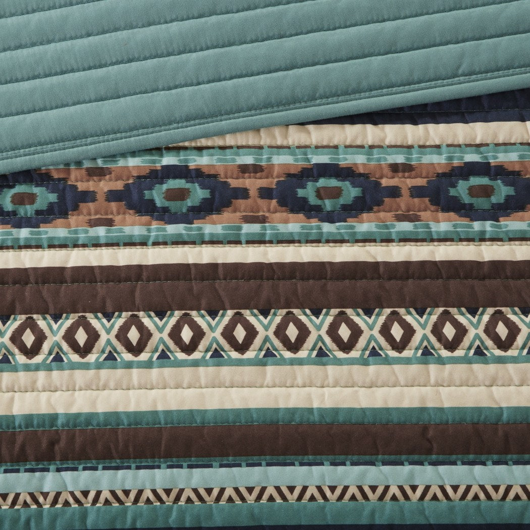 Southwest Coverlet Set Native American Southwestern Bedding Horizontal Tribal Stripes Geometric Motifs Lodge Indian Themed Pattern Aztec Western