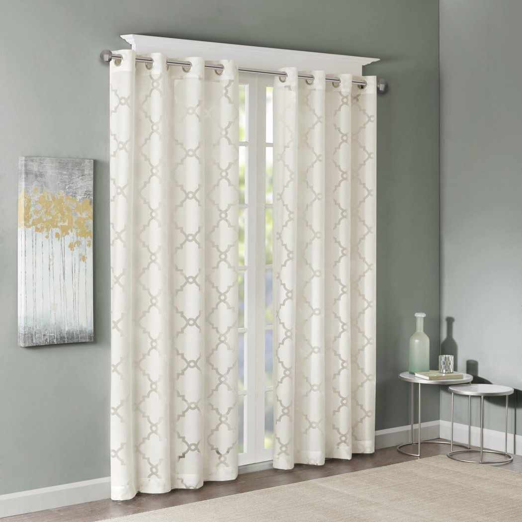 Girls Sheer Diamond Window Curtain Single Panel Quatrefoil Shapes Geometric Pattern Lattice Window Treatments