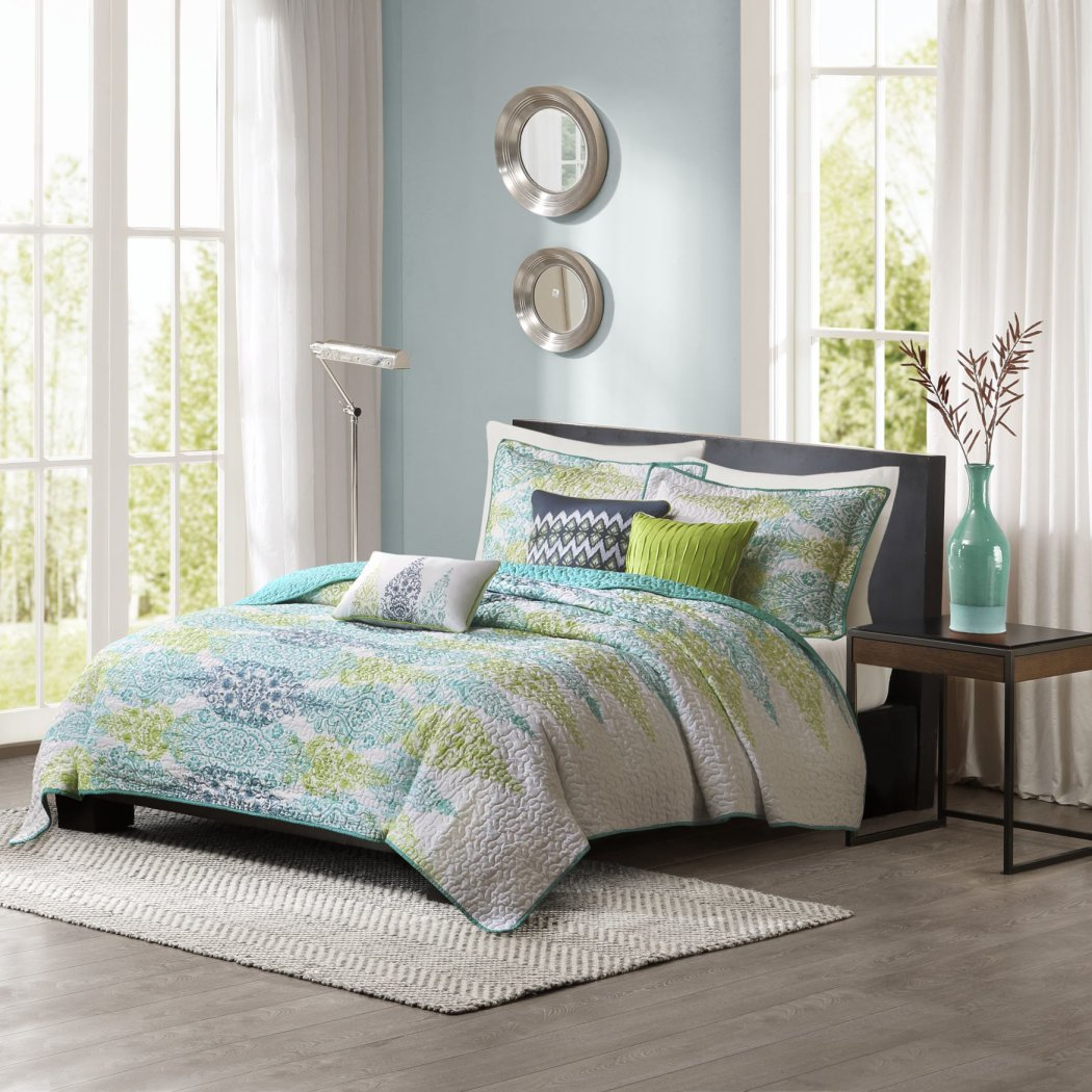 Abstract Coverlet Set Bohemian Pattern Bedding Textured Bed Bag Master Bedroom Quilted Contemporary Mid