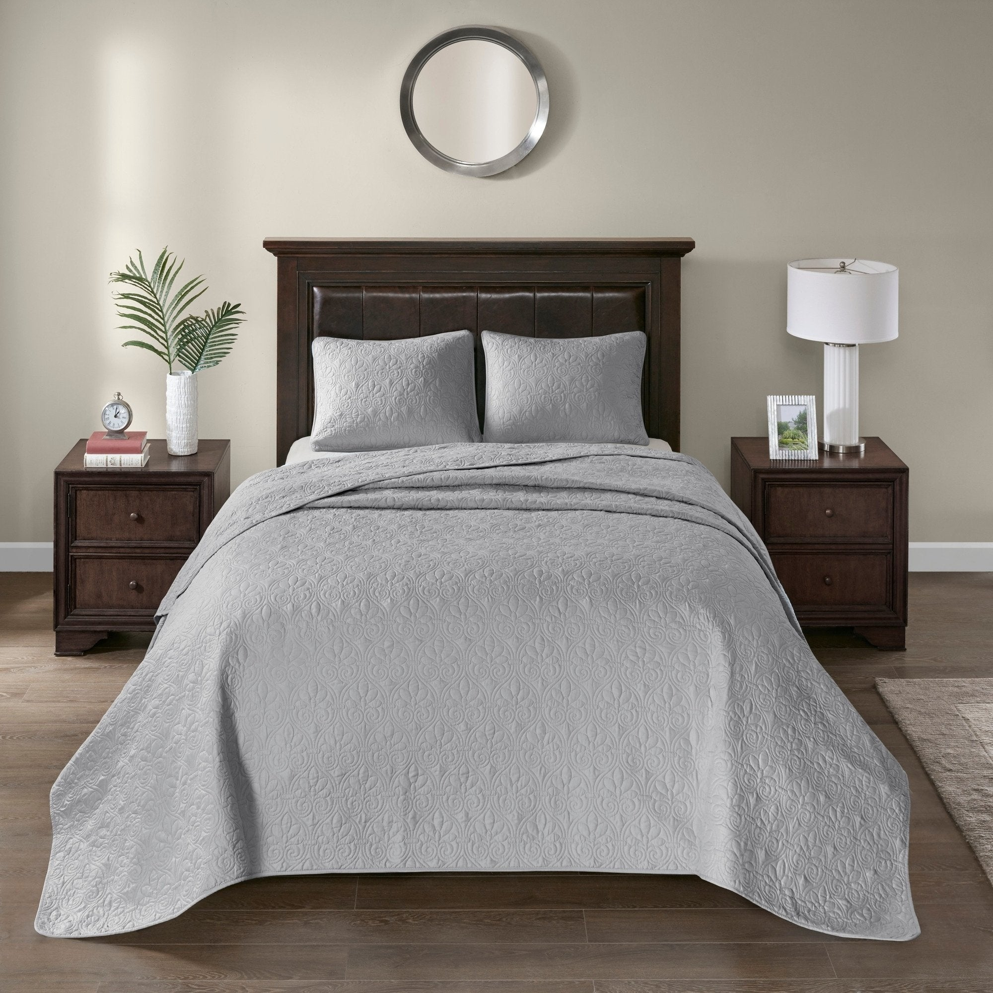 Oversized Bedspread Floor Set Solid Warm Tone Coverlet Allover Quilt Drops Over Edge Beds Microfiber