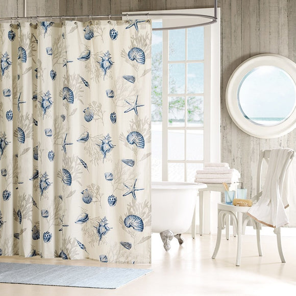 Girls White Blue Beach Themed Shower Curtain Sea Shell Ocean Bathroom Pattern Coral Star Fish Shells Nautical Hawaii Motif Nature Sea Summer Cottage - Diamond Home USA