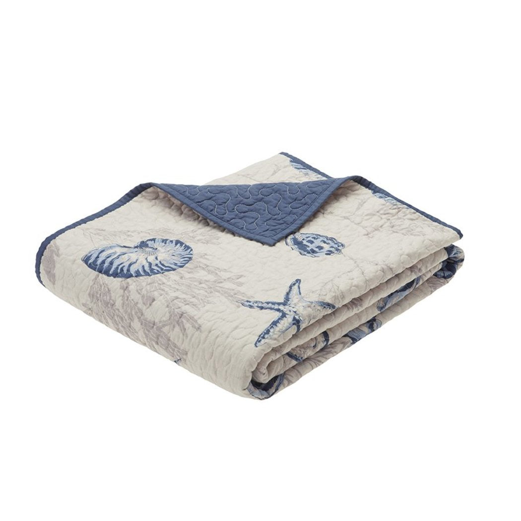 Taupe White Dark Sea Blue Beach Themed Throw Blanket Sea Shells Star Fish Ocean Pattern Bedding Ivory White Nautical Polyester Lightweight Oversized - Diamond Home USA