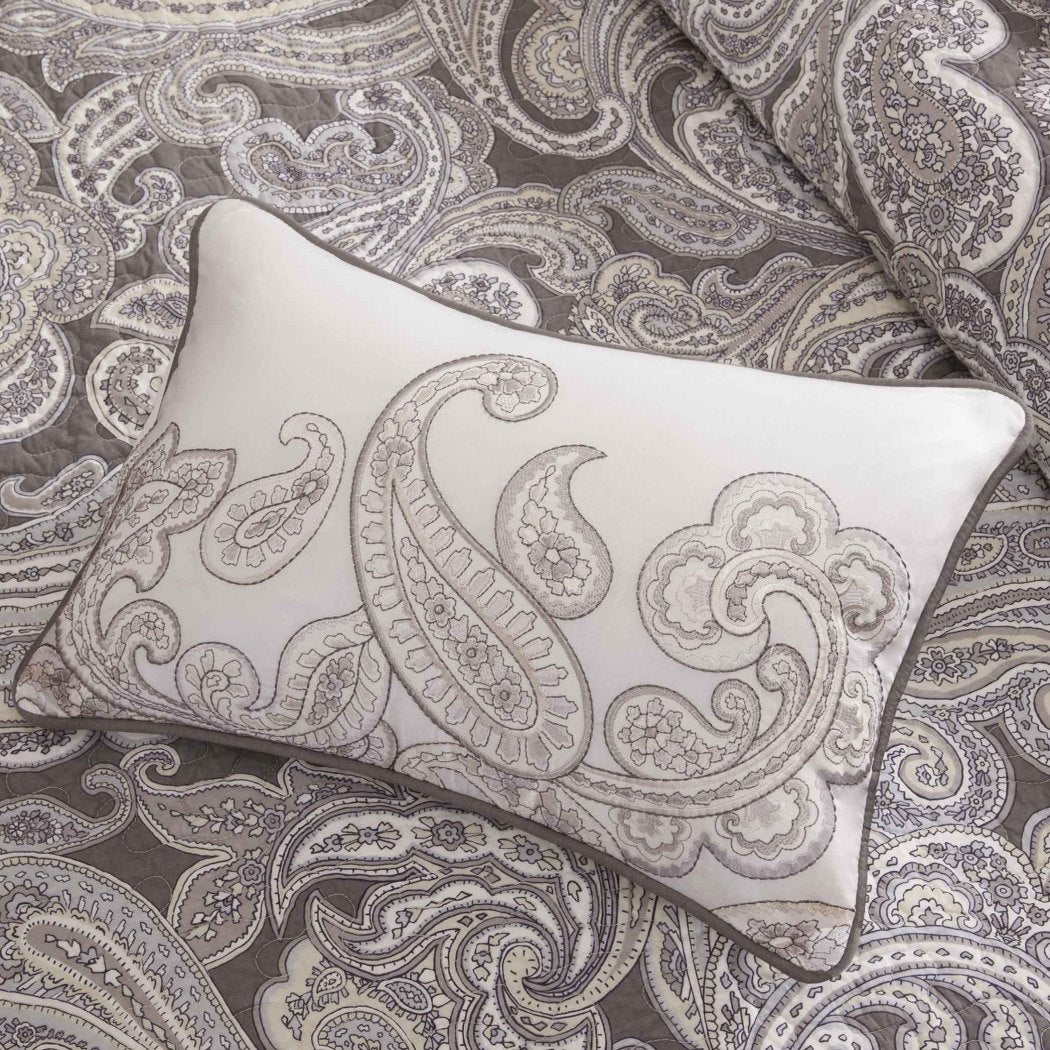 Paisley Coverlet/Cal Set Medallion Floral Pattern Geometric Jacquard Damask Theme Bedding Modern Shabby Chic French Country Motif