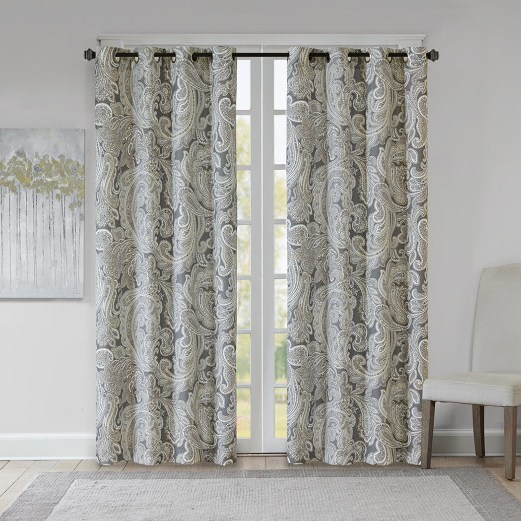 Paisley Window Curtain Neutral Floral Vines Boteh Baroque Mandala Pattern Traditional Single Panel Textured Privacy