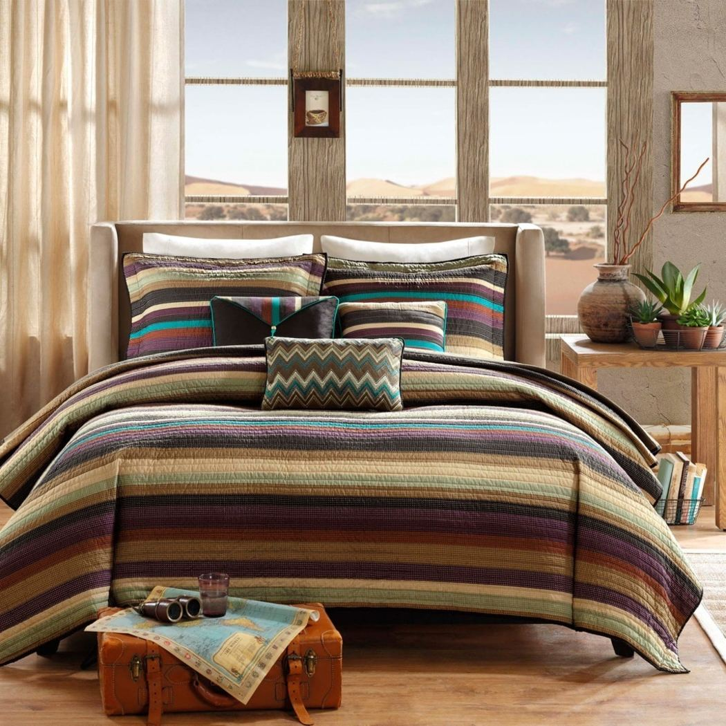 Southwest Coverlet Set Stripes Southwestern Bedding Native American Striped Pattern Tribal