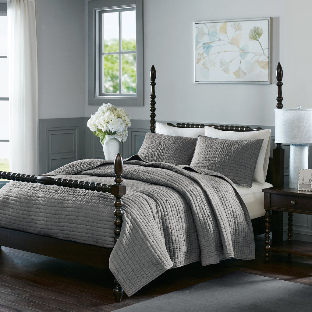 Ribbed Stripes Pattern Coverlet Set Elega Classic Hand Pick Stitched Design Quilted Stripe Inspire Bedding Bold Super