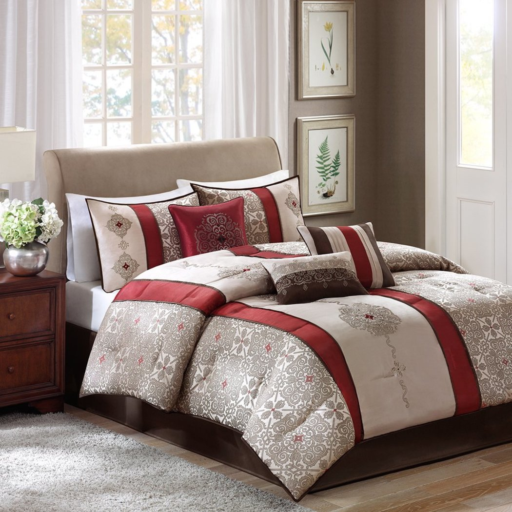 Comforter Set Luxurious Modern Bedding Stunning Striped Floral Pattern Delicate Embroidery Geometric Sophisticated White