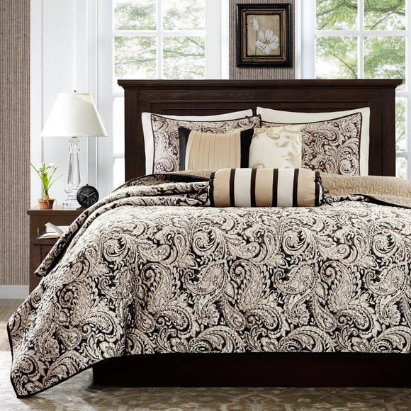 Paisley Coverlet/Cal Set Damask Floral Sleek Trendy Flower Pattern Theme Bedding French Country Flowers Motif Shabby Chic