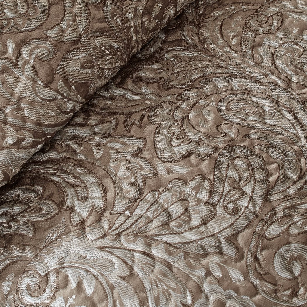 Paisley Coverlet Set Damask Floral Jacquard Flower Pattern Theme Bedding French Country Flowers Motif Shabby Chic Quilted Polyester